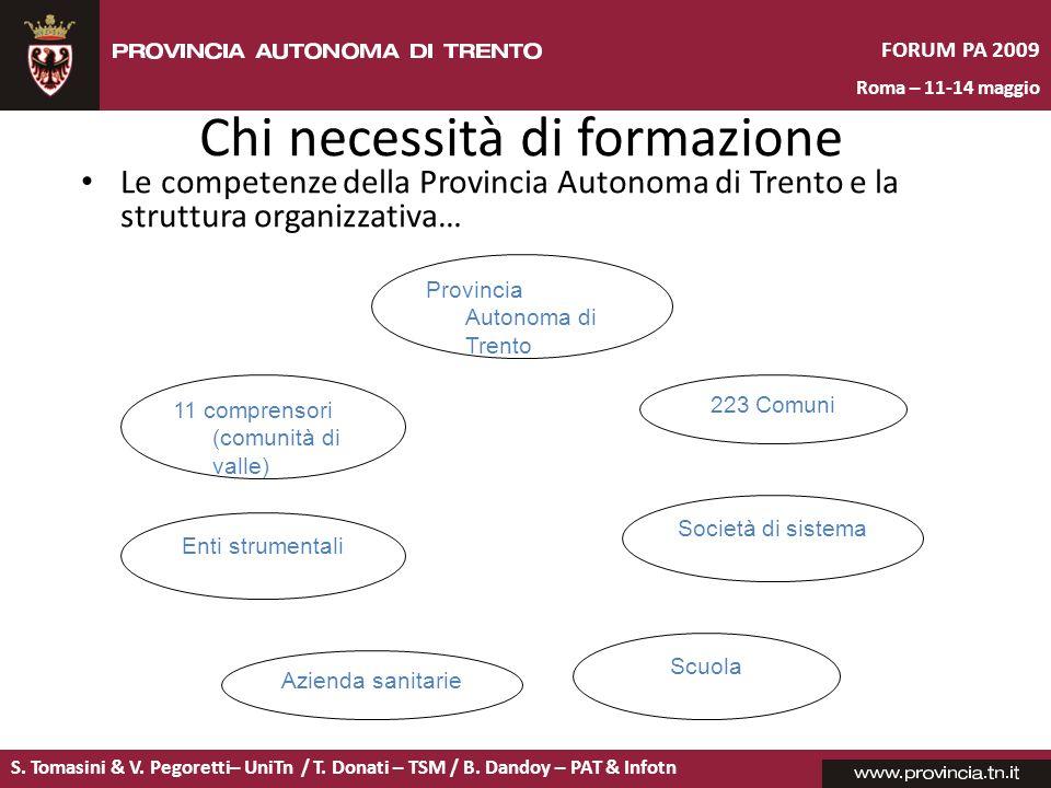 S. Tomasini & V. Pegoretti– UniTn / T. Donati – TSM / B. Dandoy – PAT & Infotn FORUM PA 2009 Roma – 11-14 maggio Chi necessità di formazione Le compet