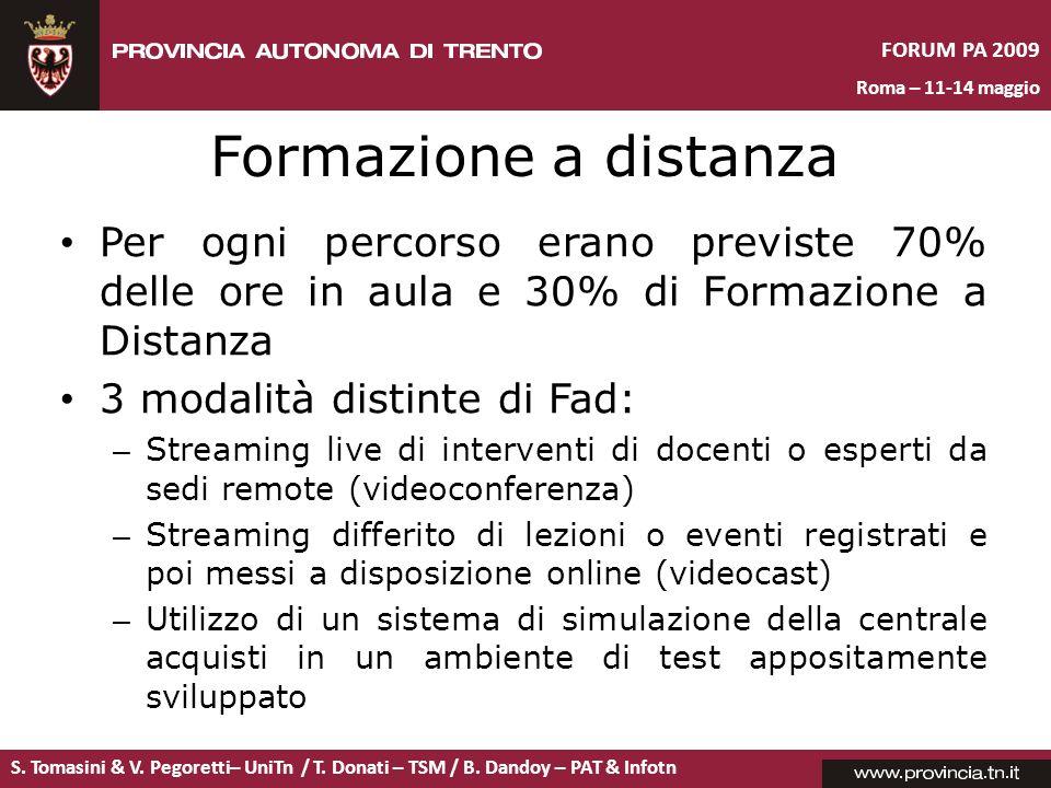 S. Tomasini & V. Pegoretti– UniTn / T. Donati – TSM / B. Dandoy – PAT & Infotn FORUM PA 2009 Roma – 11-14 maggio Formazione a distanza Per ogni percor