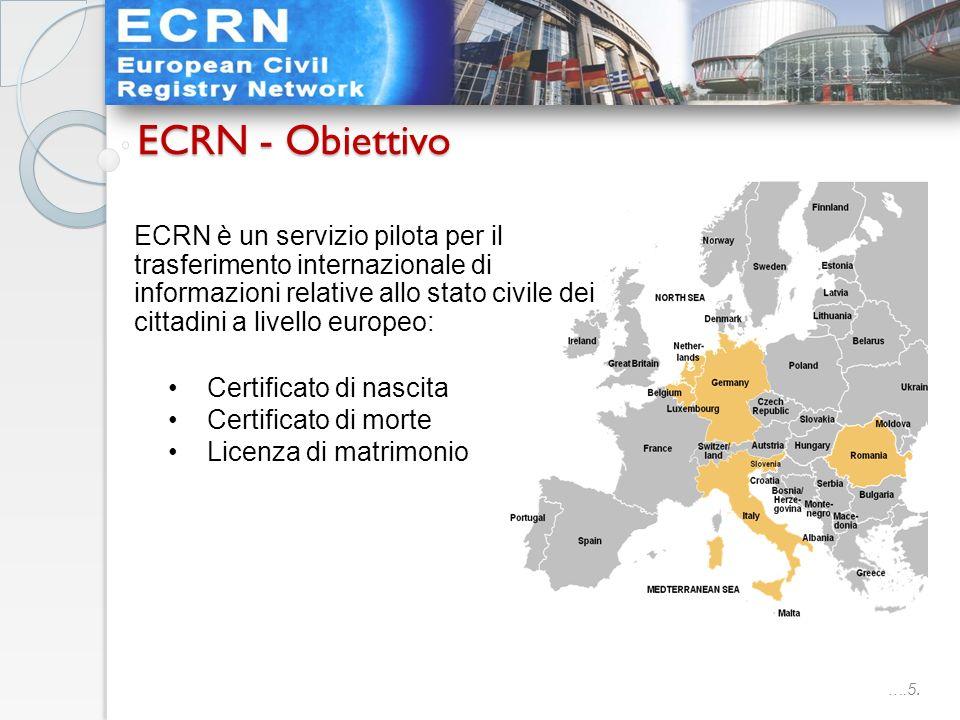 ….5. ECRN è un servizio pilota per il trasferimento internazionale di informazioni relative allo stato civile dei cittadini a livello europeo: Certifi