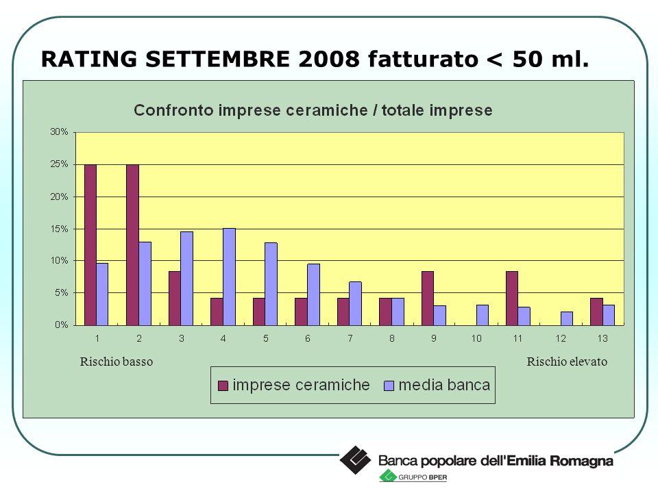 RATING SETTEMBRE 2008 fatturato < 50 ml. Rischio basso Rischio elevato