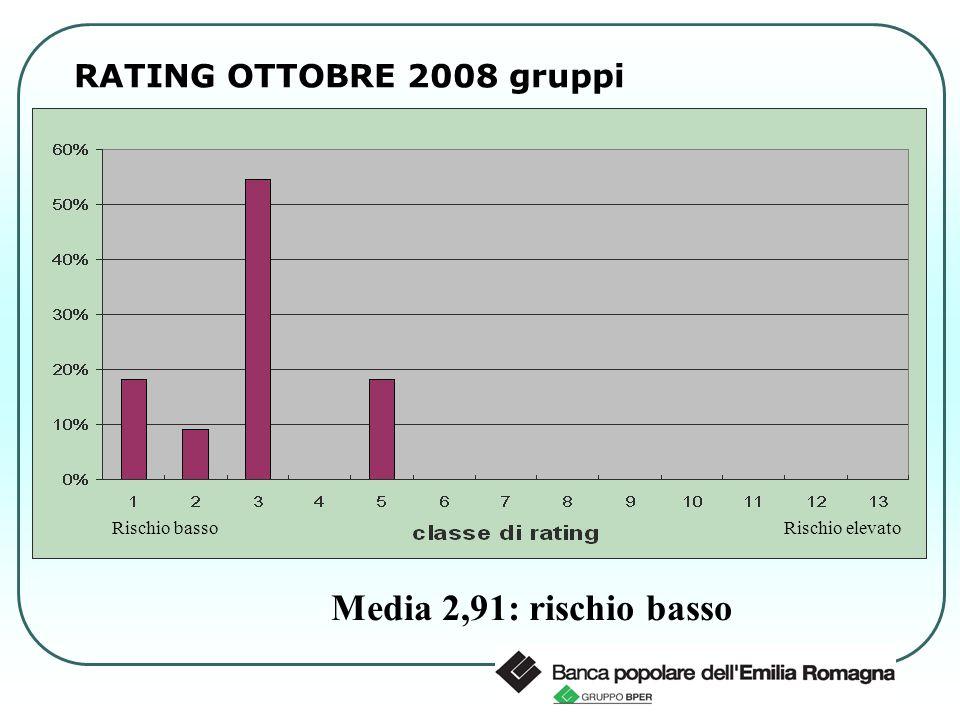 RATING OTTOBRE 2008 gruppi Rischio elevato Rischio basso Media 2,91: rischio basso