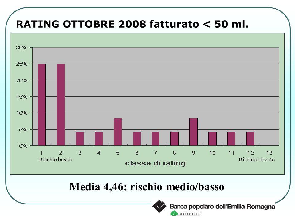 RATING OTTOBRE 2008 fatturato < 50 ml. Media 4,46: rischio medio/basso Rischio bassoRischio elevato