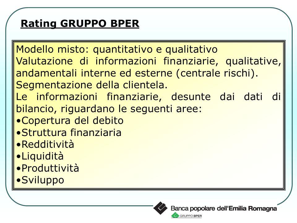 Modello misto: quantitativo e qualitativo Valutazione di informazioni finanziarie, qualitative, andamentali interne ed esterne (centrale rischi). Segm