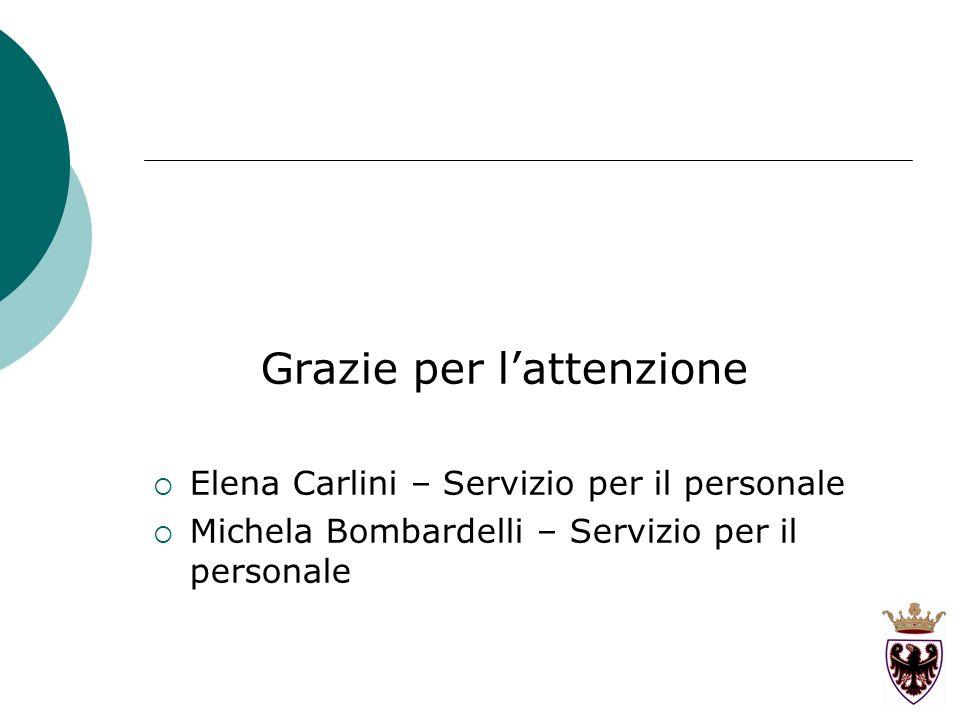 Grazie per lattenzione Elena Carlini – Servizio per il personale Michela Bombardelli – Servizio per il personale