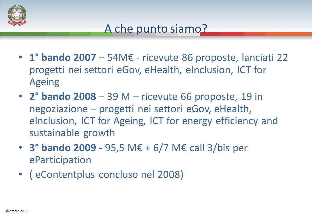 Dicembre 2008 A che punto siamo? 1° bando 2007 – 54M - ricevute 86 proposte, lanciati 22 progetti nei settori eGov, eHealth, eInclusion, ICT for Agein