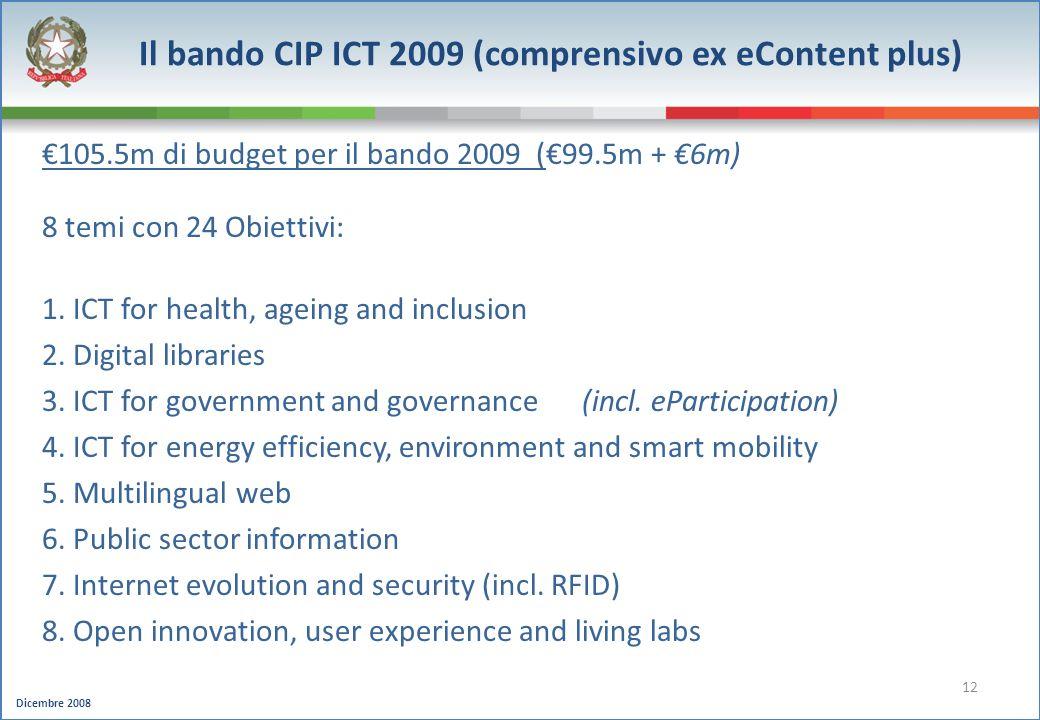 Dicembre 2008 12 105.5m di budget per il bando 2009 (99.5m + 6m) 8 temi con 24 Obiettivi: 1. ICT for health, ageing and inclusion 2. Digital libraries
