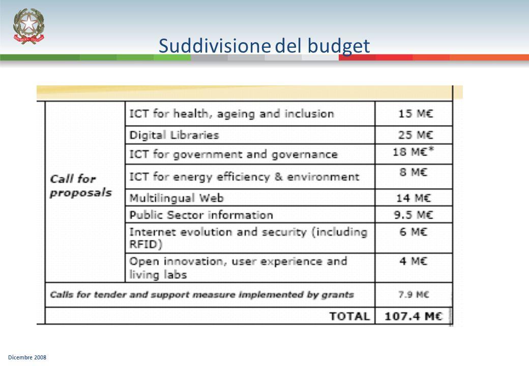 Dicembre 2008 Suddivisione del budget