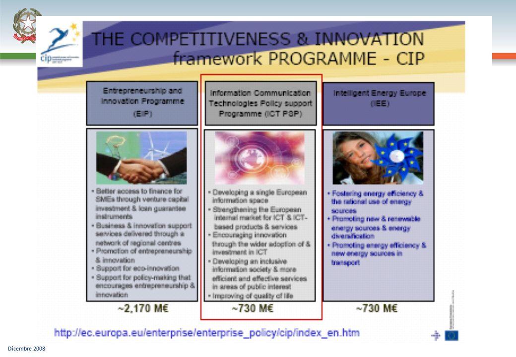 Obiettivi generici del programma CIP-ICT Per accelerare lo sviluppo di una società dellinformazione competitiva, innovativa ed inclusiva In linea con le priorità i2010 implementate attraverso progetti e reti : Progetti di testing e dimostrazione su ampia scala di servizi pubblici innovativi a dimensione pan-europea, analisi politica e promozione progetti di interesse comune in grado di stimolare lo sviluppo e lutilizzo ottimale di soluzioni innovative basate su tecnologie ICT (esistenti) reti tematiche che facilitino il coordinamento e limplementazione di azioni di sviluppo della IS fra Stati membri