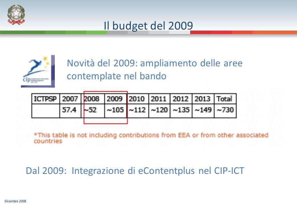 Dicembre 2008 Il budget del 2009 Novità del 2009: ampliamento delle aree contemplate nel bando Dal 2009: Integrazione di eContentplus nel CIP-ICT