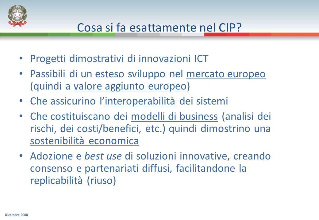 Dicembre 2008 Cosa si fa esattamente nel CIP? Progetti dimostrativi di innovazioni ICT Passibili di un esteso sviluppo nel mercato europeo (quindi a v