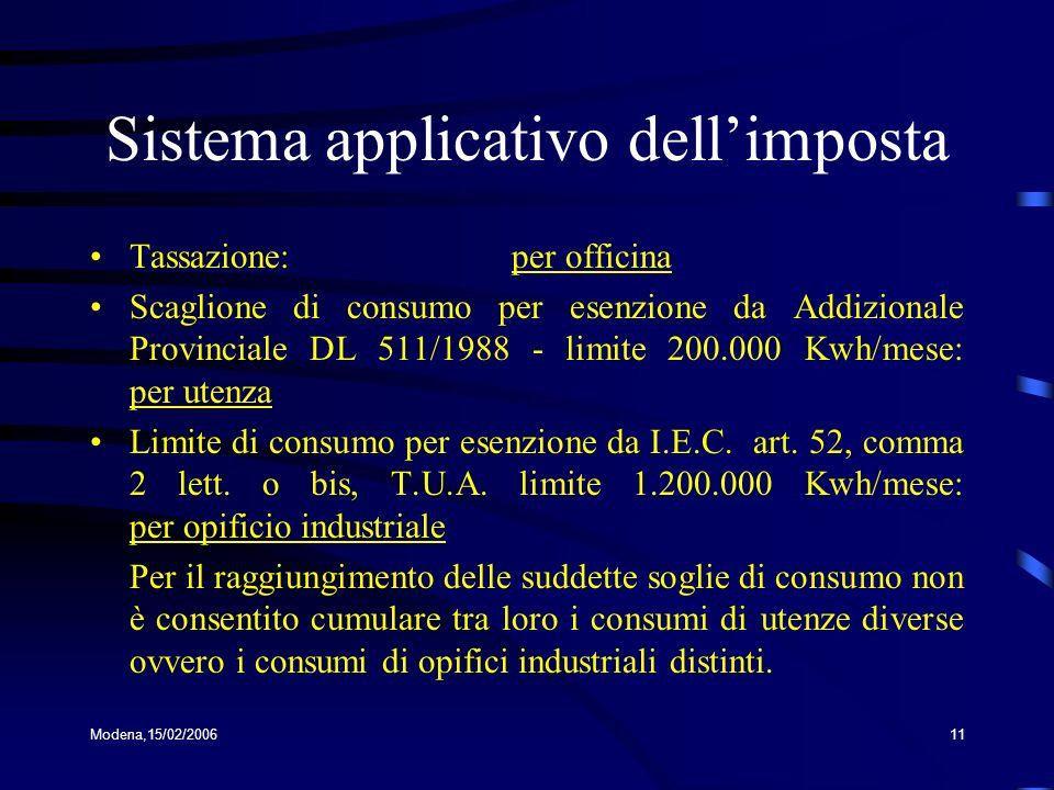 Modena,15/02/200611 Sistema applicativo dellimposta Tassazione: per officina Scaglione di consumo per esenzione da Addizionale Provinciale DL 511/1988 - limite 200.000 Kwh/mese: per utenza Limite di consumo per esenzione da I.E.C.
