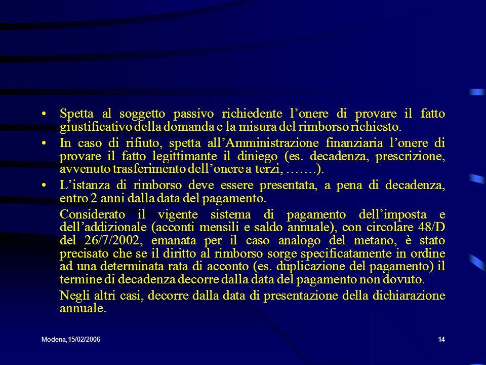 Modena,15/02/200614 Spetta al soggetto passivo richiedente lonere di provare il fatto giustificativo della domanda e la misura del rimborso richiesto.
