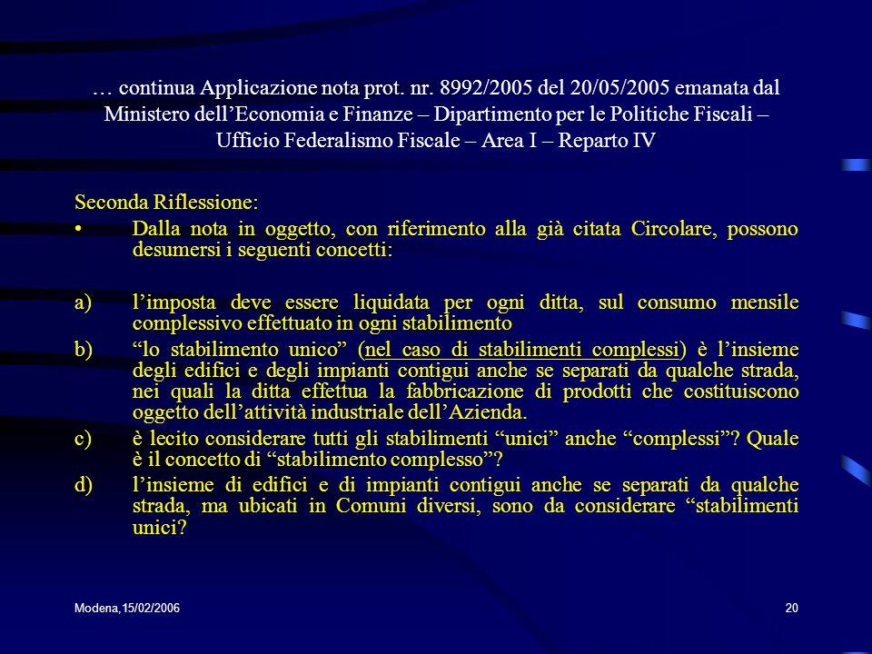 Modena,15/02/200620 … continua Applicazione nota prot. nr. 8992/2005 del 20/05/2005 emanata dal Ministero dellEconomia e Finanze – Dipartimento per le
