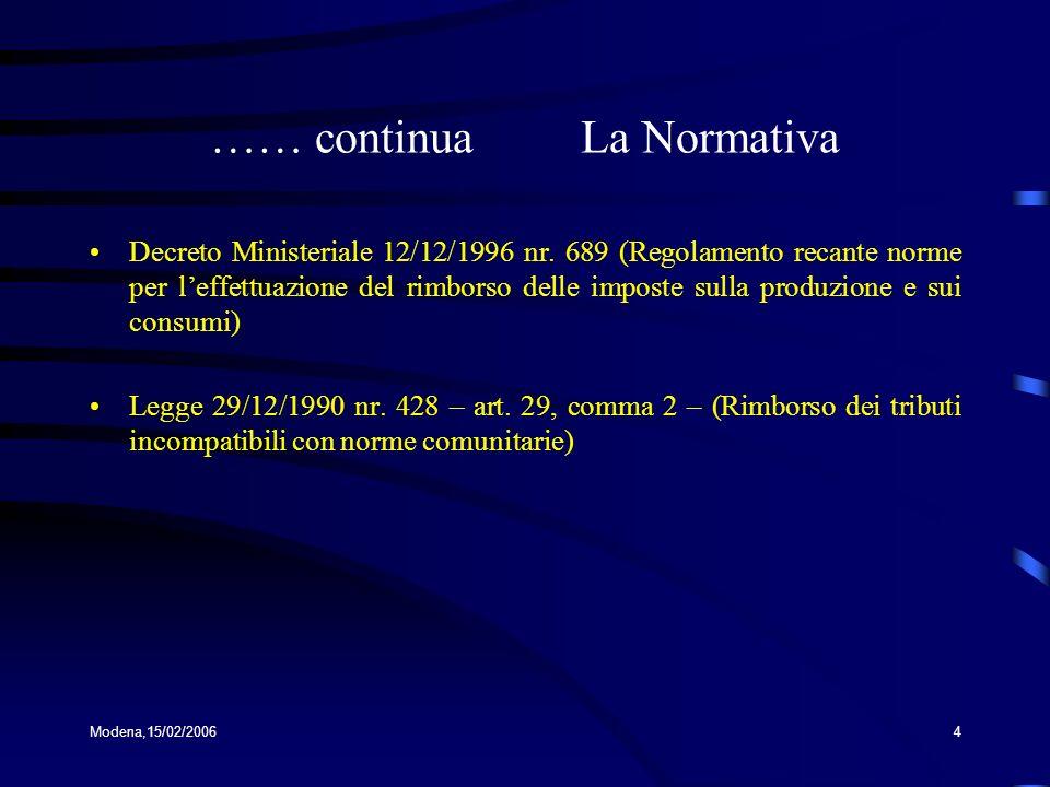 Modena,15/02/20064 …… continua La Normativa Decreto Ministeriale 12/12/1996 nr. 689 (Regolamento recante norme per leffettuazione del rimborso delle i