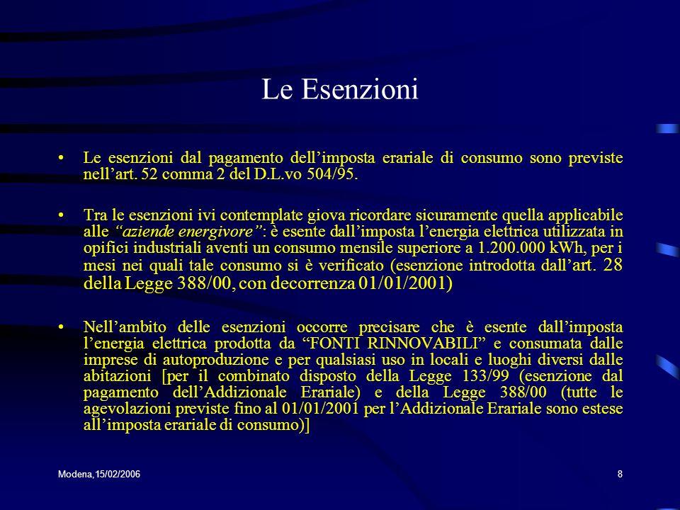 Modena,15/02/20068 Le Esenzioni Le esenzioni dal pagamento dellimposta erariale di consumo sono previste nellart. 52 comma 2 del D.L.vo 504/95. Tra le
