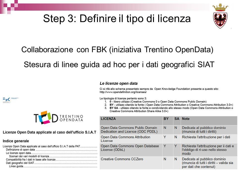 Step 3: Definire il tipo di licenza Collaborazione con FBK (iniziativa Trentino OpenData) Stesura di linee guida ad hoc per i dati geografici SIAT