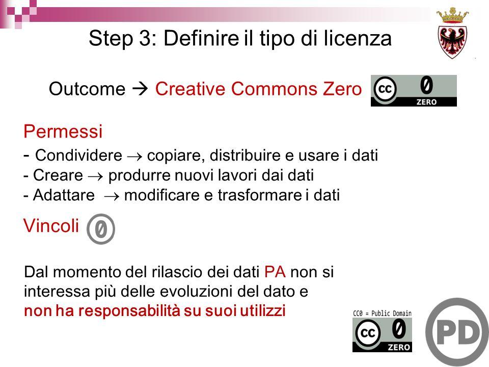 Outcome Creative Commons Zero Vincoli Permessi - Condividere copiare, distribuire e usare i dati - Creare produrre nuovi lavori dai dati - Adattare modificare e trasformare i dati Dal momento del rilascio dei dati PA non si interessa più delle evoluzioni del dato e non ha responsabilità su suoi utilizzi Step 3: Definire il tipo di licenza