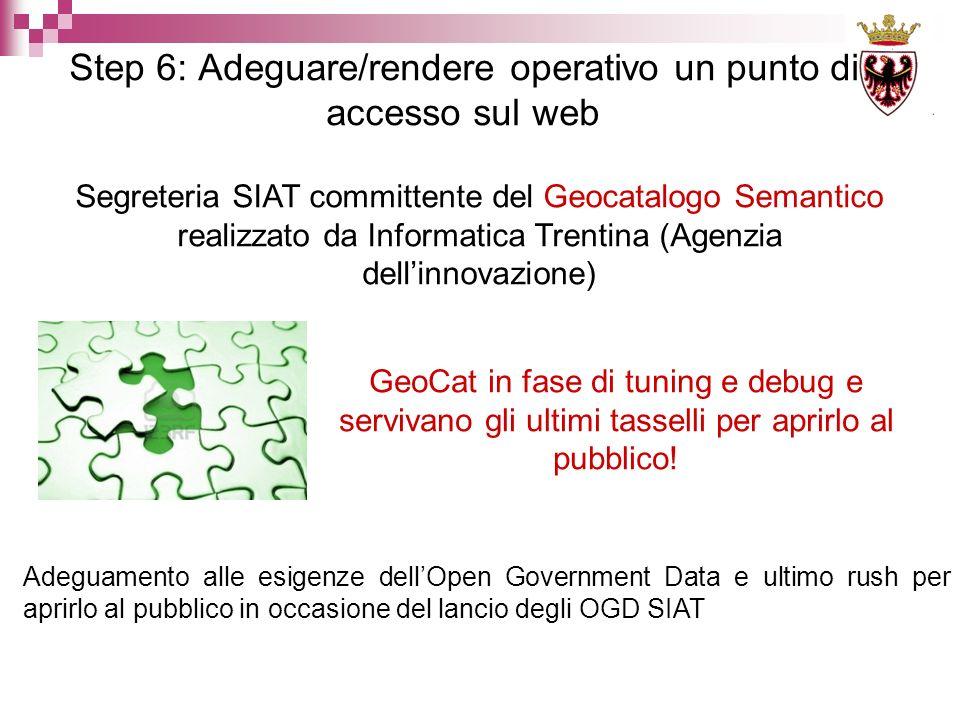 Step 6: Adeguare/rendere operativo un punto di accesso sul web Segreteria SIAT committente del Geocatalogo Semantico realizzato da Informatica Trentina (Agenzia dellinnovazione) GeoCat in fase di tuning e debug e servivano gli ultimi tasselli per aprirlo al pubblico.