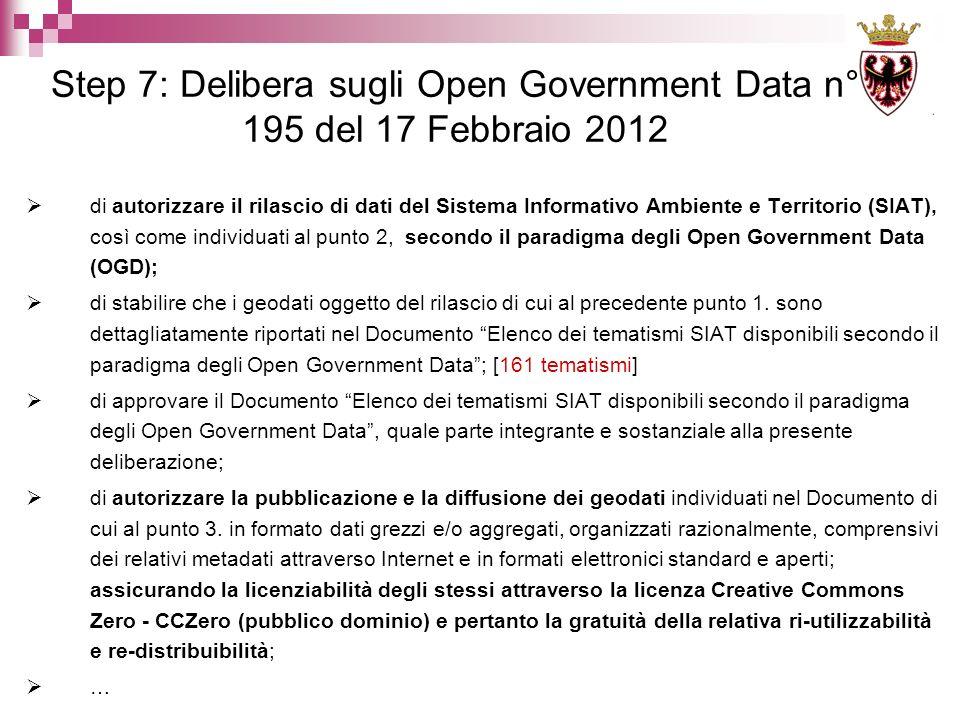 di autorizzare il rilascio di dati del Sistema Informativo Ambiente e Territorio (SIAT), così come individuati al punto 2, secondo il paradigma degli Open Government Data (OGD); di stabilire che i geodati oggetto del rilascio di cui al precedente punto 1.