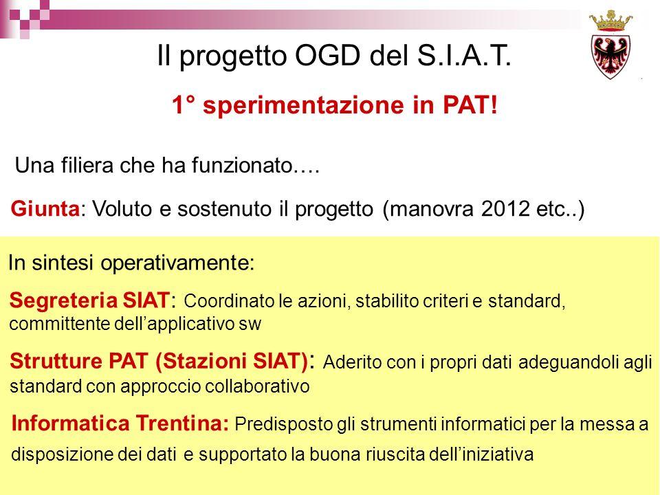 Il progetto OGD del S.I.A.T. Una filiera che ha funzionato….