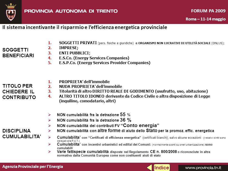 Agenzia Provinciale per lEnergia FORUM PA 2009 Roma – 11-14 maggio Il sistema incentivante il risparmio e lefficienza energetica provinciale SOGGETTI