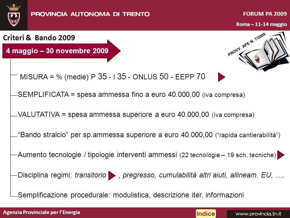 Agenzia Provinciale per lEnergia FORUM PA 2009 Roma – 11-14 maggio Criteri & Bando 2009 PROVV. APE N. 7/2009 4 maggio – 30 novembre 2009 SEMPLIFICATA