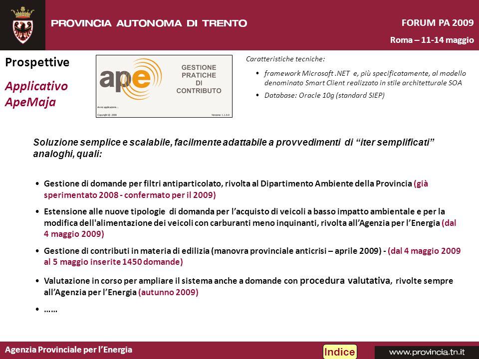Agenzia Provinciale per lEnergia FORUM PA 2009 Roma – 11-14 maggio Prospettive Applicativo ApeMaja Indice Gestione di domande per filtri antiparticola