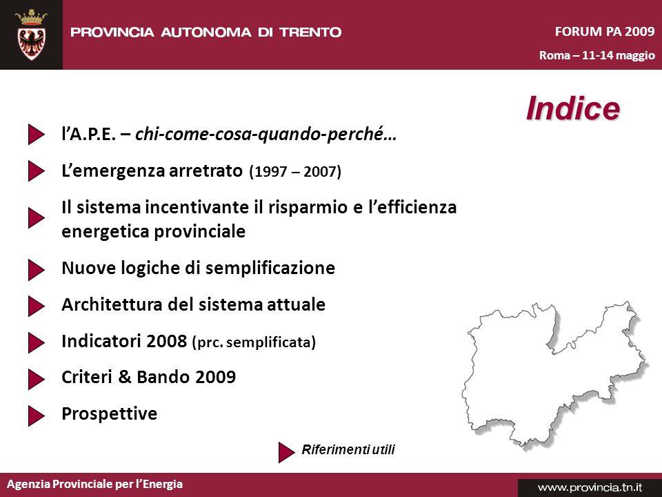 Agenzia Provinciale per lEnergia lA.P.E. – chi-come-cosa-quando-perché… Lemergenza arretrato (1997 – 2007) Il sistema incentivante il risparmio e leff