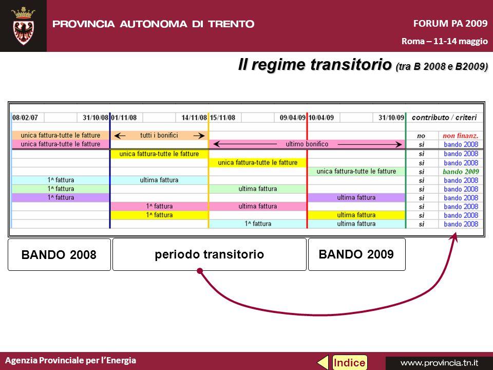BANDO 2008 Agenzia Provinciale per lEnergia FORUM PA 2009 Roma – 11-14 maggio II regime transitorio (tra B 2008 e B2009) Indice BANDO 2009periodo tran