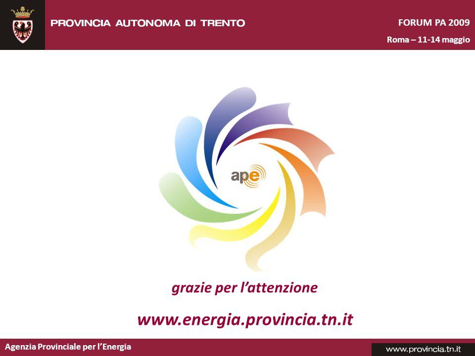 Agenzia Provinciale per lEnergia FORUM PA 2009 Roma – 11-14 maggio grazie per lattenzione www.energia.provincia.tn.it