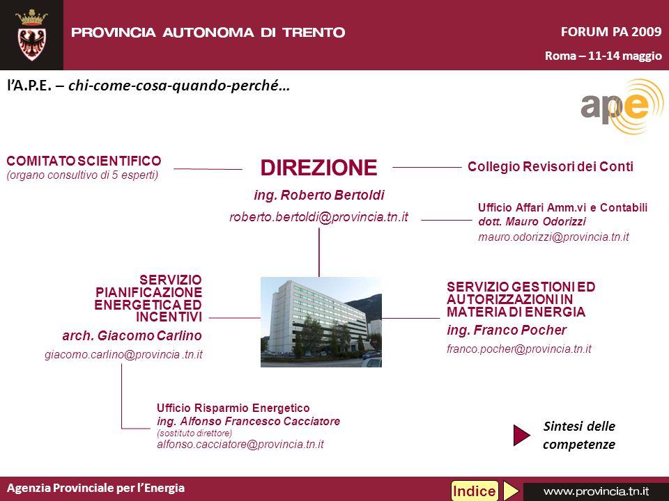 Agenzia Provinciale per lEnergia FORUM PA 2009 Roma – 11-14 maggio lA.P.E. – chi-come-cosa-quando-perché… SERVIZIO PIANIFICAZIONE ENERGETICA ED INCENT