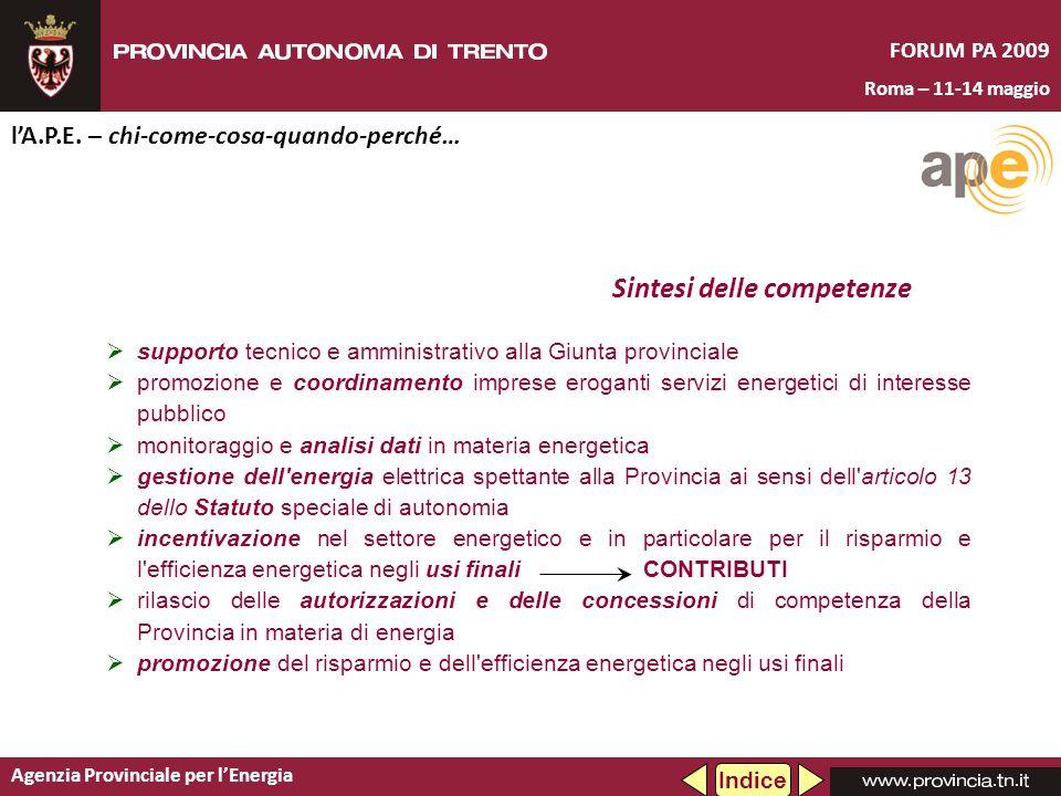 Agenzia Provinciale per lEnergia FORUM PA 2009 Roma – 11-14 maggio lA.P.E. – chi-come-cosa-quando-perché… Indice supporto tecnico e amministrativo all