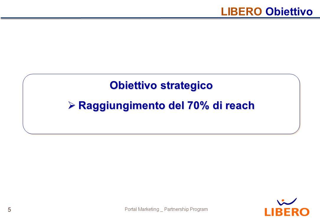 5 Portal Marketing _ Partnership Program Obiettivo strategico Raggiungimento del 70% di reach Raggiungimento del 70% di reach Obiettivo strategico Raggiungimento del 70% di reach Raggiungimento del 70% di reach