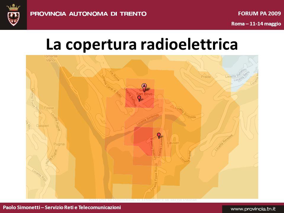 Paolo Simonetti – Servizio Reti e Telecomunicazioni FORUM PA 2009 Roma – 11-14 maggio Reti per la comunità: il Trentino e la larga banda La copertura radioelettrica