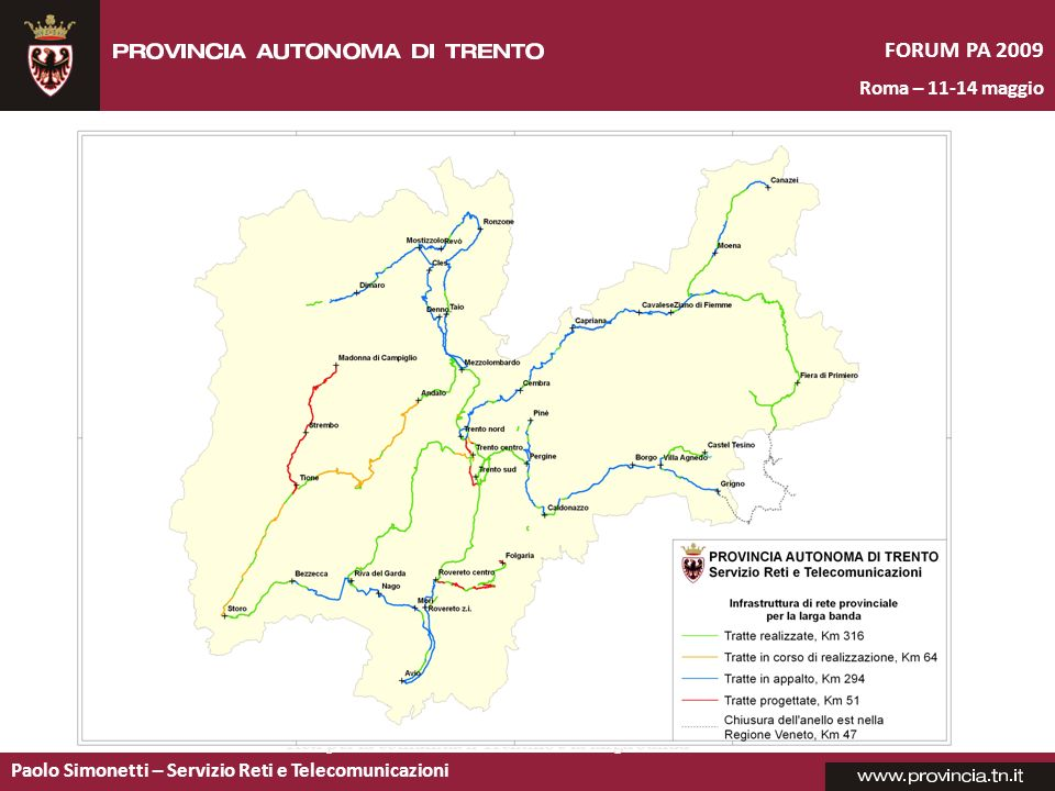 Paolo Simonetti – Servizio Reti e Telecomunicazioni FORUM PA 2009 Roma – 11-14 maggio Lo stato di attuazione Siti realizzati: 767 Collegamenti P.A.