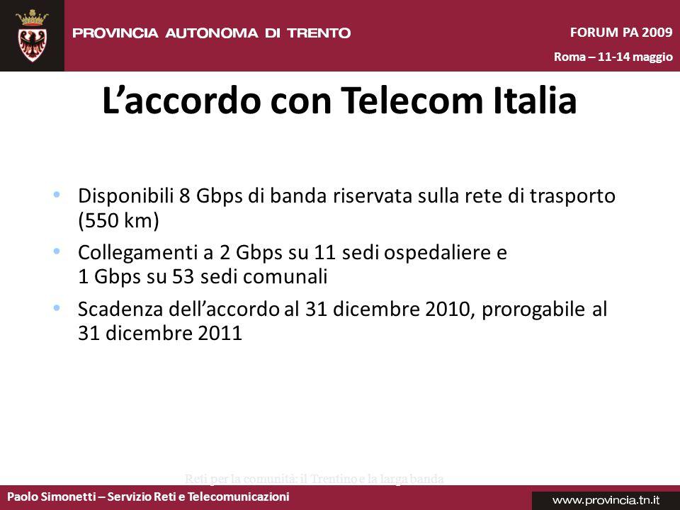 Paolo Simonetti – Servizio Reti e Telecomunicazioni FORUM PA 2009 Roma – 11-14 maggio Cles Mezzolombardo Rovereto Centro Arco Tione Fondo Madonna di C.