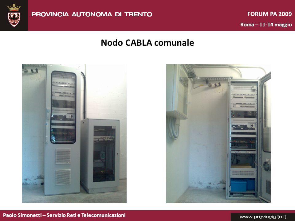 Paolo Simonetti – Servizio Reti e Telecomunicazioni FORUM PA 2009 Roma – 11-14 maggio Nodo CABLA comunale
