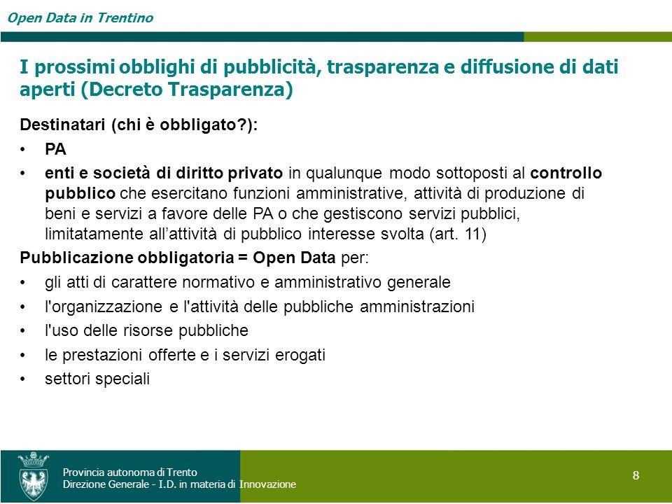 Open Data in Trentino 8 Provincia autonoma di Trento Direzione Generale - I.D. in materia di Innovazione I prossimi obblighi di pubblicità, trasparenz