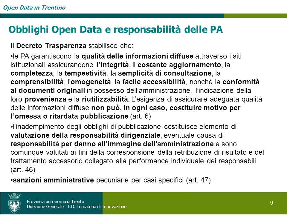 Open Data in Trentino 9 Provincia autonoma di Trento Direzione Generale - I.D. in materia di Innovazione Obblighi Open Data e responsabilità delle PA