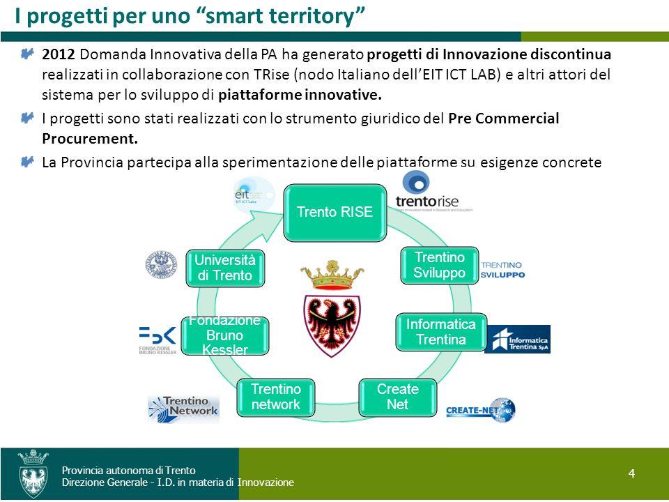 4 Provincia autonoma di Trento Direzione Generale - I.D. in materia di Innovazione I progetti per uno smart territory 2012 Domanda Innovativa della PA
