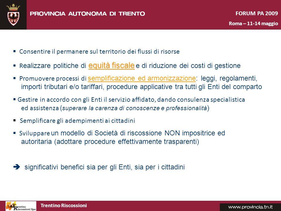 Trentino Riscossioni FORUM PA 2009 Roma – 11-14 maggio Risultati attesi dalla sperimentazione Gestione entrate integrata – un ambiente integrato molto performante per tutte le fasi di gestione.