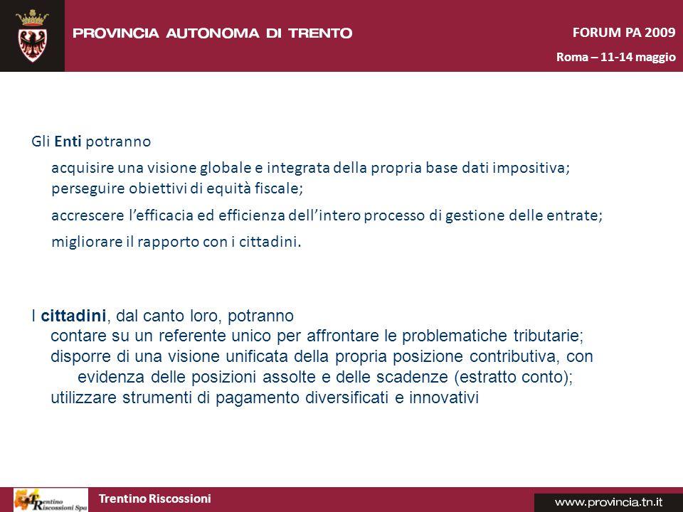 Trentino Riscossioni FORUM PA 2009 Roma – 11-14 maggio Il ruolo di Trentino Riscossioni dovrà svilupparsi secondo un approccio concorrenziale rispetto ad operatori della riscossione esterni e di convivenza rispetto ad attori locali operanti nel campo della gestione delle entrate.