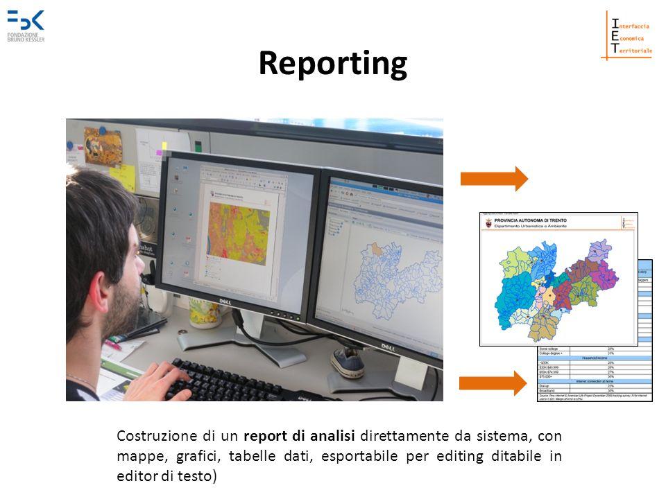 Reporting Costruzione di un report di analisi direttamente da sistema, con mappe, grafici, tabelle dati, esportabile per editing ditabile in editor di testo)
