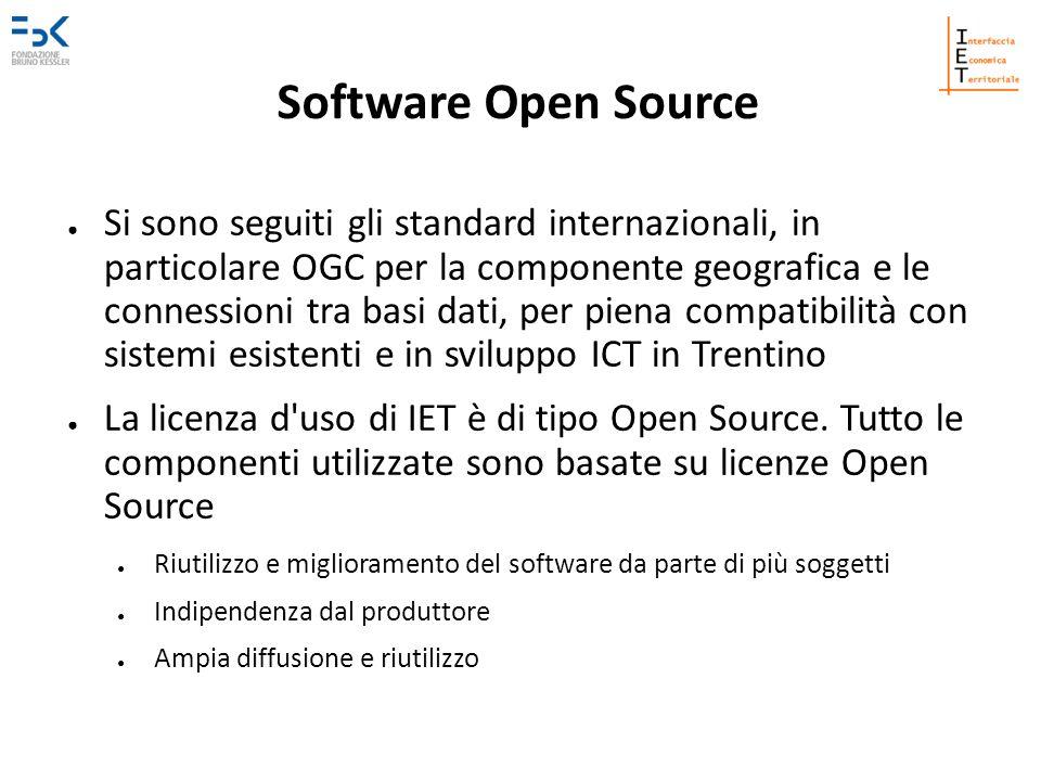 Software Open Source Si sono seguiti gli standard internazionali, in particolare OGC per la componente geografica e le connessioni tra basi dati, per piena compatibilità con sistemi esistenti e in sviluppo ICT in Trentino La licenza d uso di IET è di tipo Open Source.