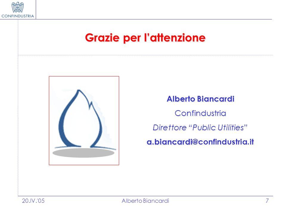 20.IV. 05Alberto Biancardi7 Grazie per lattenzione Alberto Biancardi Confindustria Direttore Public Utilities a.biancardi a.biancardi@confindustria.it
