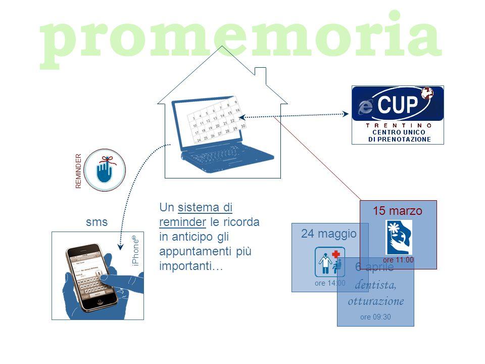 promemoria Un sistema di reminder le ricorda in anticipo gli appuntamenti più importanti… iPhone ® sms REMINDER ore 14:00 24 maggio ore 09:30 6 aprile