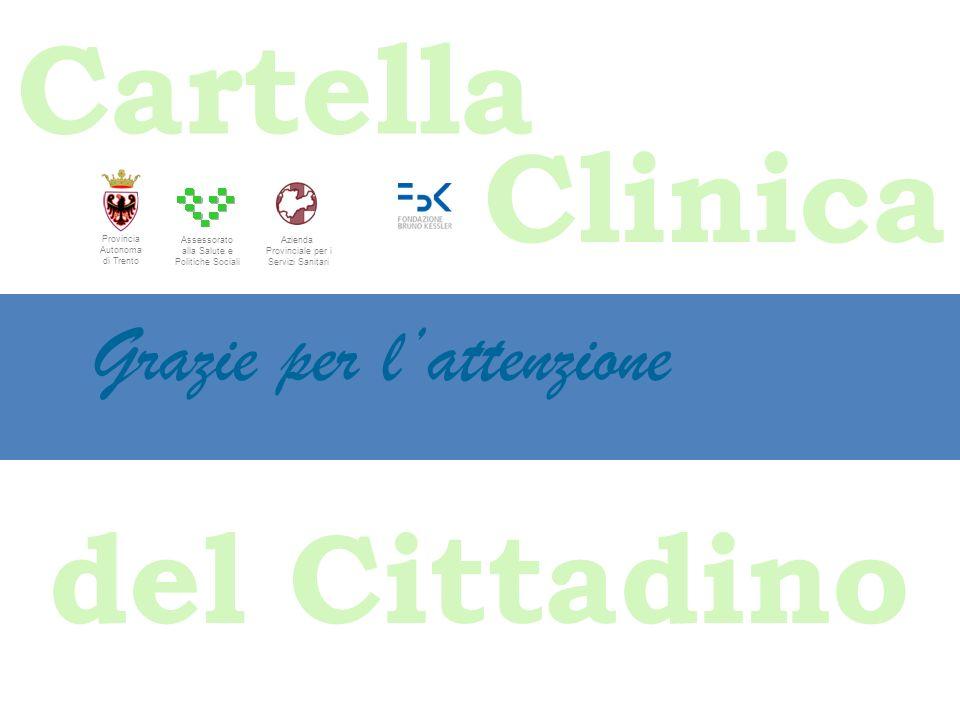 Cartella Clinica del Cittadino Grazie per lattenzione Assessorato alla Salute e Politiche Sociali Provincia Autonoma di Trento Azienda Provinciale per