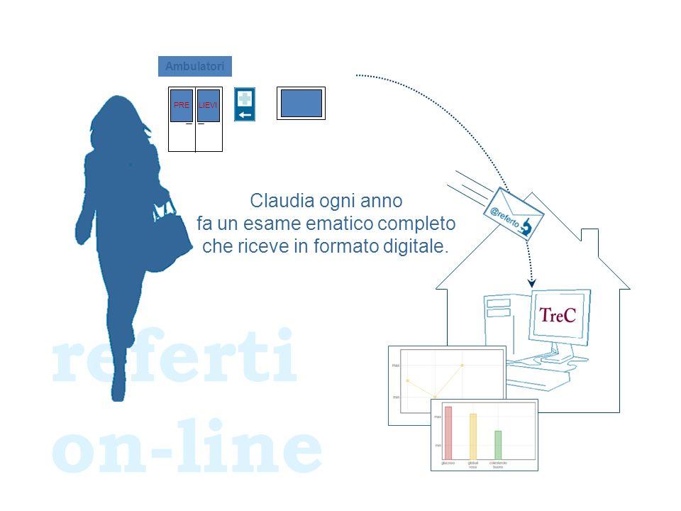 referti on-line Claudia ogni anno fa un esame ematico completo che riceve in formato digitale.