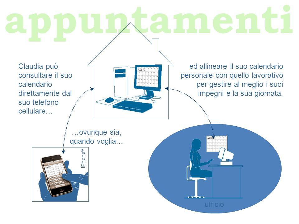 appuntamenti iPhone ® ufficio ed allineare il suo calendario personale con quello lavorativo per gestire al meglio i suoi impegni e la sua giornata. C