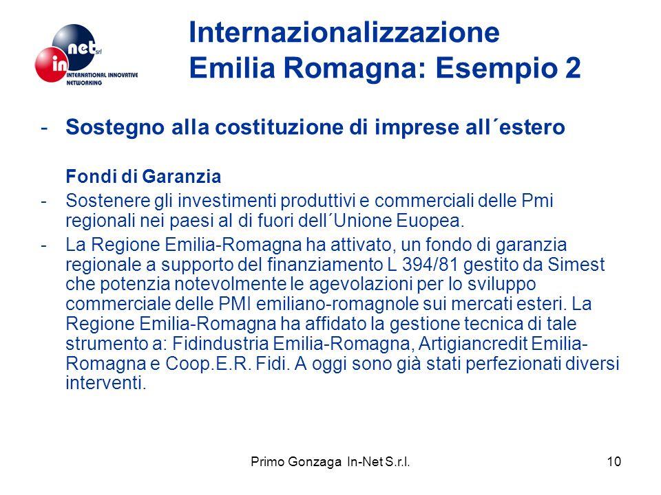 Primo Gonzaga In-Net S.r.l.10 Internazionalizzazione Emilia Romagna: Esempio 2 -Sostegno alla costituzione di imprese all´estero Fondi di Garanzia -Sostenere gli investimenti produttivi e commerciali delle Pmi regionali nei paesi al di fuori dell´Unione Euopea.
